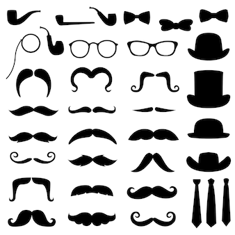 Moustache gentleman hipster clipart silhouette