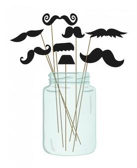 ガラスの瓶に棒で口ひげ。