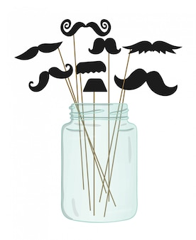 Moustache on stick in a glass jar.