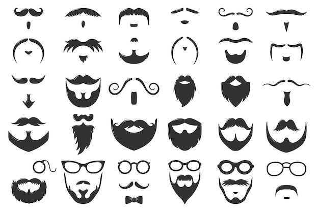 Moustaches and beards. vintage hipster moustache silhouettes, moustache and beard masculine  symbols set. gentleman face hairstyle. black curly hair, glasses and bow, barber logo
