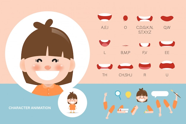Mouth animation set for children. lip sync collection character animation kid.