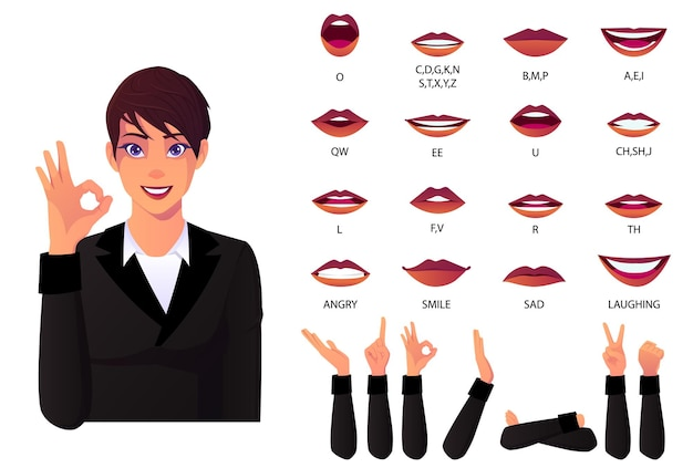 Mouth animation set and lip sync for alphabet businesswoman pronunciation  lips animation with different lips expressions