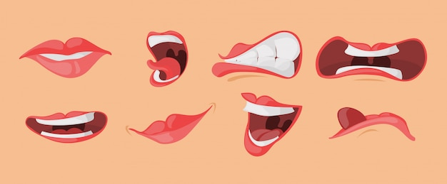 Mouth expressions facial gestures set in cartoon style