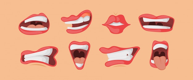 Mouth expressions facial gestures set in cartoon style.
