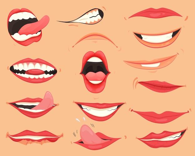 口の表情。さまざまな感情、表情の唇。漫画のスタイルの女性の唇。ジェスチャーの唇のコレクション。