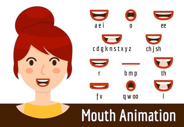 Набор mouth lip sync для анимации звукового произношения. рот фонемы формирует коллекцию женщины с рыжими волосами, каштановыми глазами и красными губами. говорящая голова аватара. мультяшный плоский стиль. векторная иллюстрация