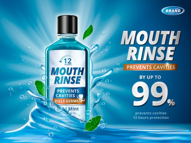 Mouth rinse ads, refreshing mouthwash product with splashing aqua elements and mint leaves in 3d illustration