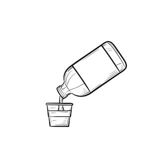 Полоскание рта с мерной чашкой рисованной наброски каракули значок. гигиена для полоскания рта, медицинская концепция здоровья зубов. векторная иллюстрация эскиз для печати, интернета, мобильных устройств и инфографики на белом фоне.
