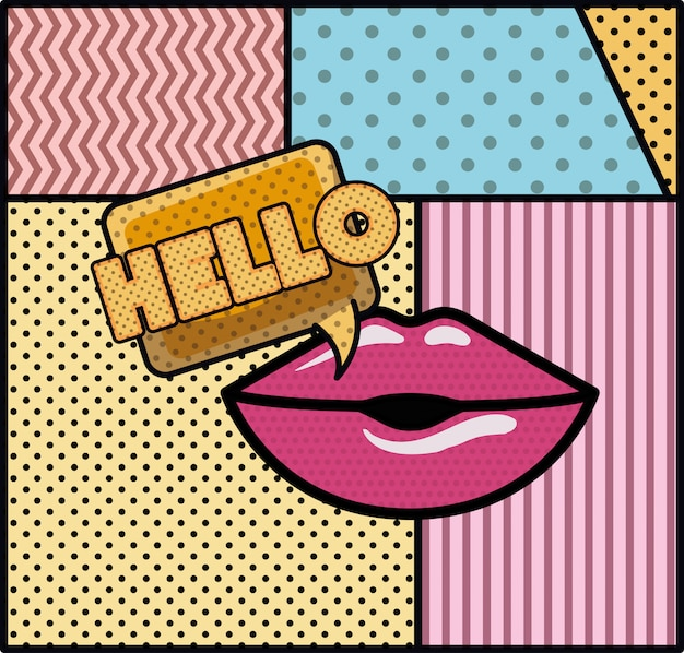 Mouth saying hello pop art style