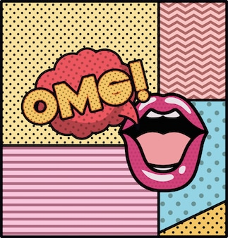 Mouth saying omg pop art style