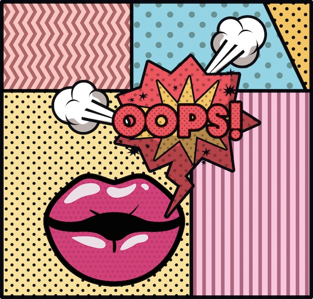 Mouth saying oops pop art style