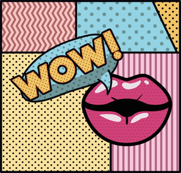 Mouth saying wow pop art style