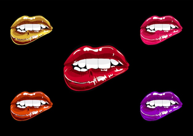 Mouth set pop art. lips patch collection