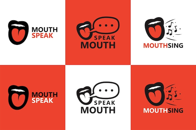 Mouth speak and sing logo template premium vector