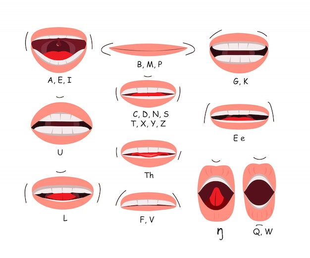 Mouth sync flat icon set