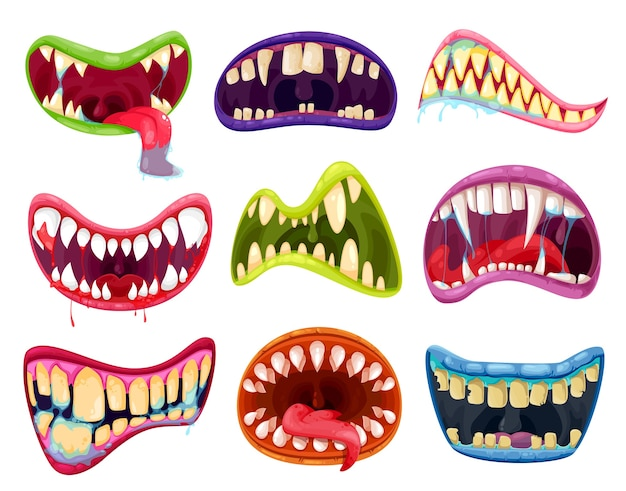Mouth and teeth of halloween monsters  set. cartoon scary smile expressions with alien animal tongues, vampire, beast, devil or demon creature creepy lips and fangs with blood and saliva