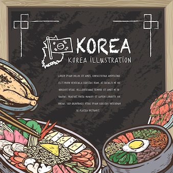 Mouth-watering korean food in hand drawn style on chalkboard