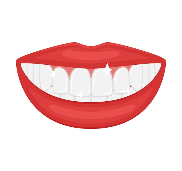 A mouth with beautiful white teeth. a snow-white smile. beautiful red plump lips. advertising