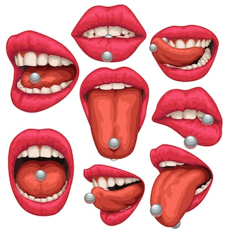 Mouth with pircing set