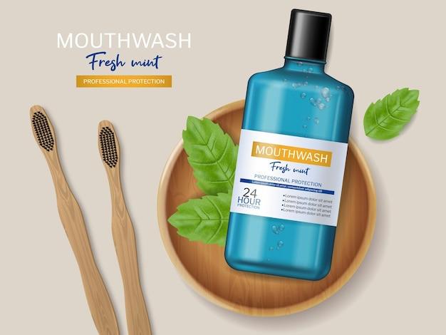 Mouthwash and bamboo brush realistic