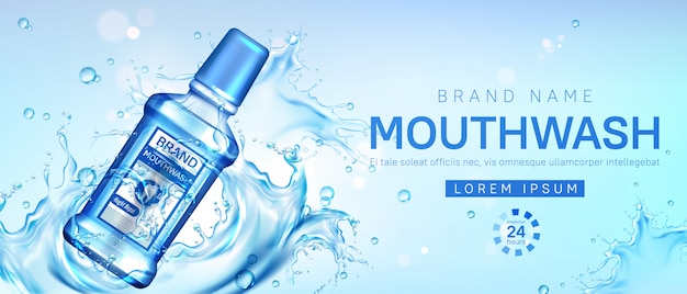 Mouthwash bottle in water splash promo poster