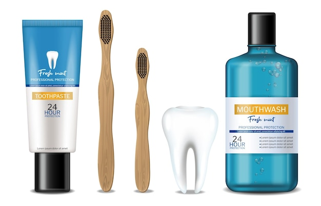 Mouthwash and dental bamboo isolated brush realistic