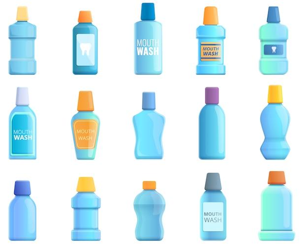 Набор иконок для полоскания рта. мультфильм набор векторных иконок для полоскания рта