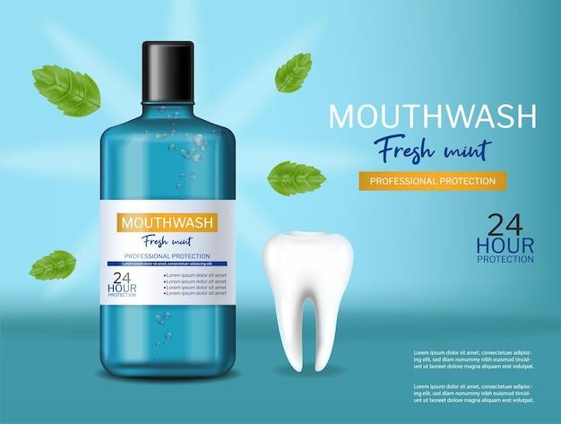 Mouthwash oral care fresh mint realistic