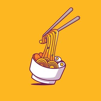 Аппетитный рамен на желтом