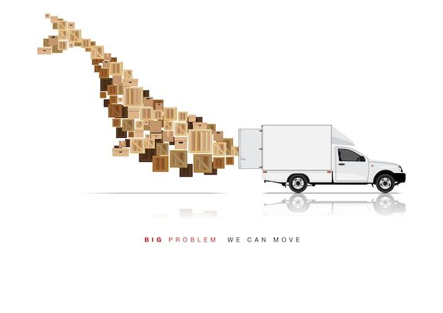 Move box by pickup truck