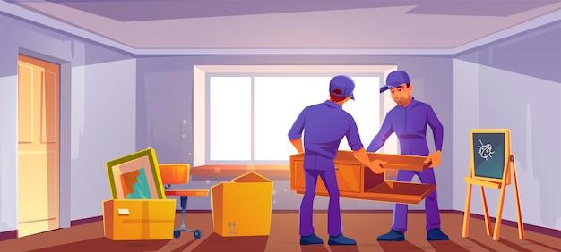 Перейти к новой концепции дома. грузчики приносят в комнату мебель и ящики.