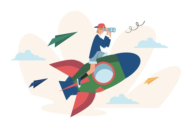 Move up motivation the way to achieve the goal using rocket