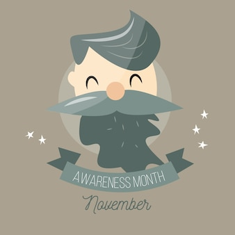 Movember awareness background with bearded man