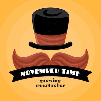 Movember background in flat design