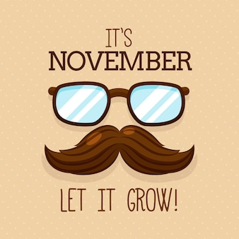 Movember background with mustache and glasses