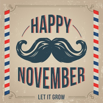 Movember background with vintage style