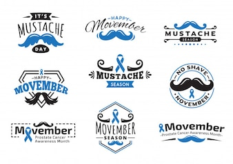 Movember badges and labels