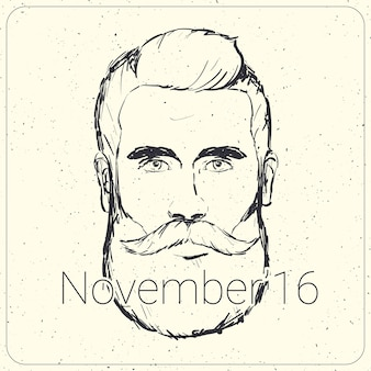 Movember card with realistic male illustration