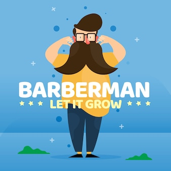 Movember design background with hipster beard man