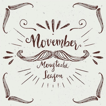 Movember design with hand drawn mustache