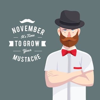 Movember design with hipster