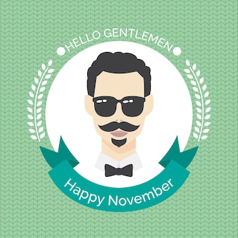 Movember design with man wearing shiny sunglasses