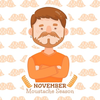 Movember design with man with arms crossed