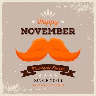 Movember design with orange mustache