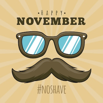 Movember design with sunglasses