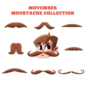 Movember moustache collection vector