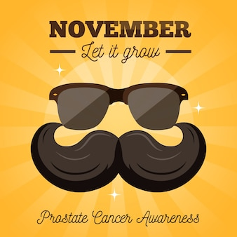 Movember mustache awareness background in flat design with sunglasses