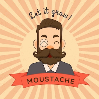 Movember mustache awareness background in flat design
