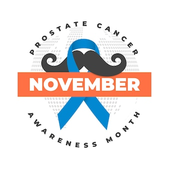 Movember mustache awareness background in flat design with ribbon