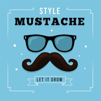 Movember mustache awareness background with hipster glasses